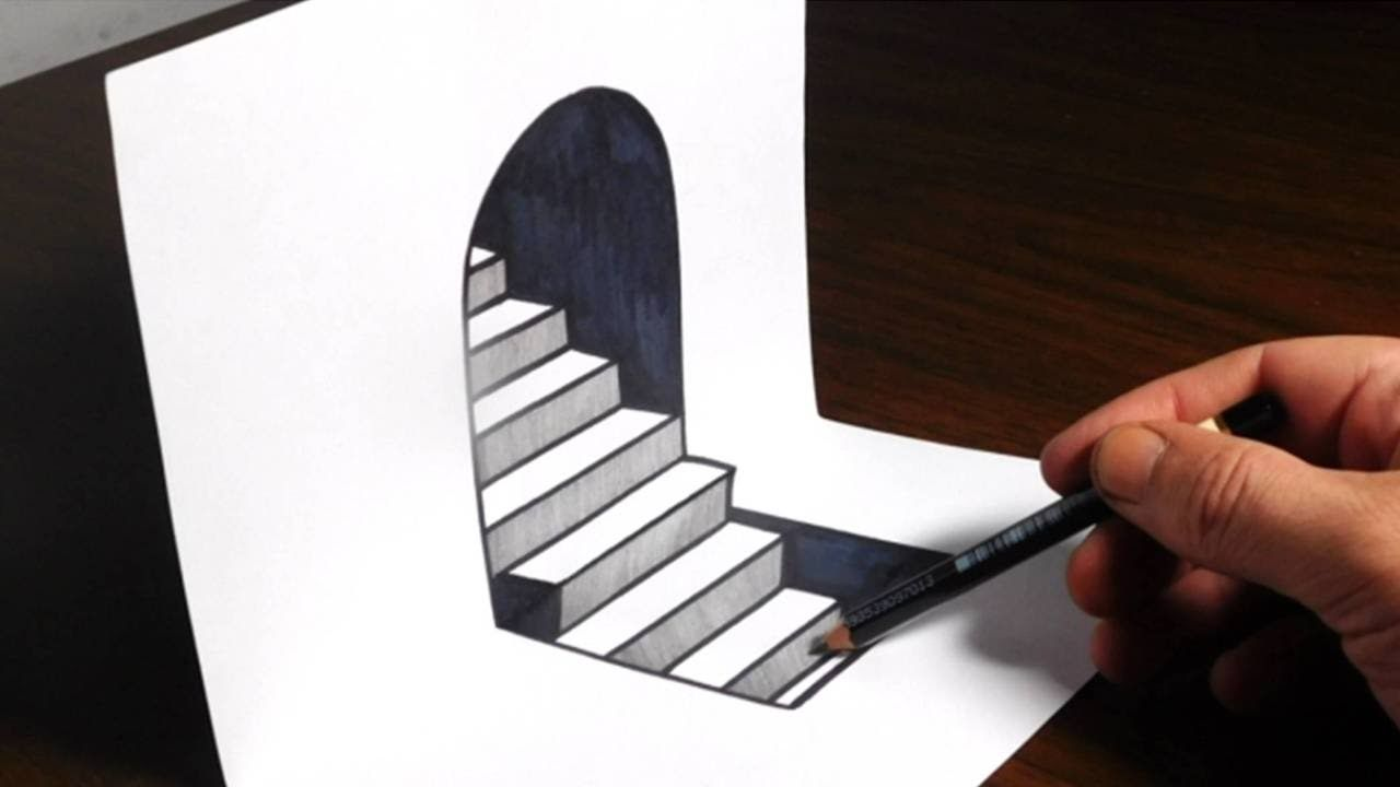 How to draw 3D steps on paper Easy trick art optical illusion