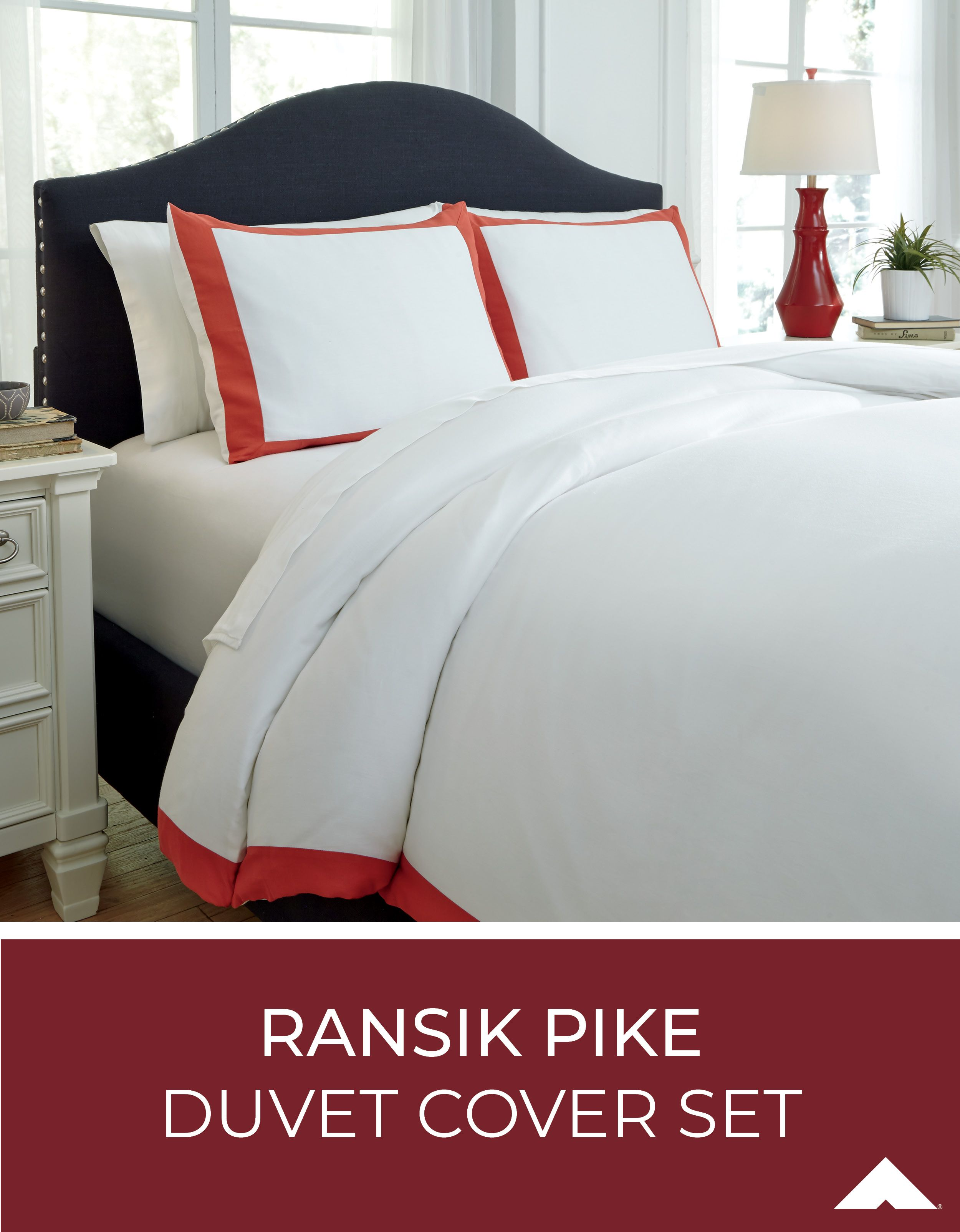 Ransike Pike Coral Boarded Duvet Cover Set By Ashley Furniture
