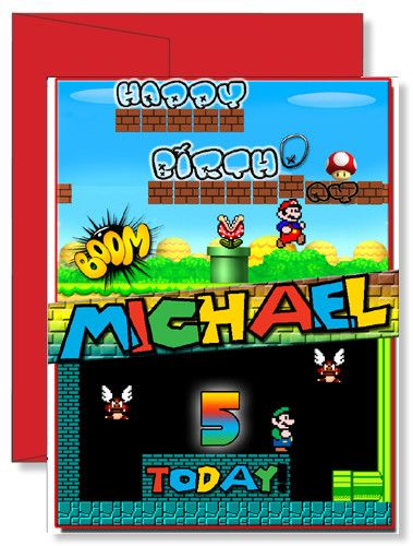 Personalized Birthday Greeting Card Super Mario Brothers Tristen