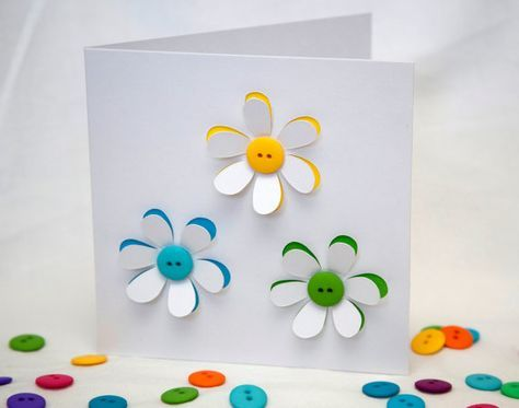 Button flowers card handmade greeting card paper cut flowers button flowers card handmade greeting card paper cut flowers blank card birthday card thank you card personalised card etsy uk bookmarktalkfo Choice Image
