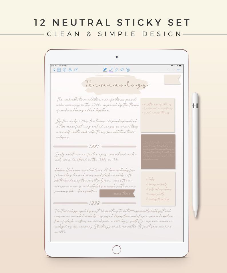 12 Neutral Sticky Notes  iPad Sticky Note Digital Planner | Etsy