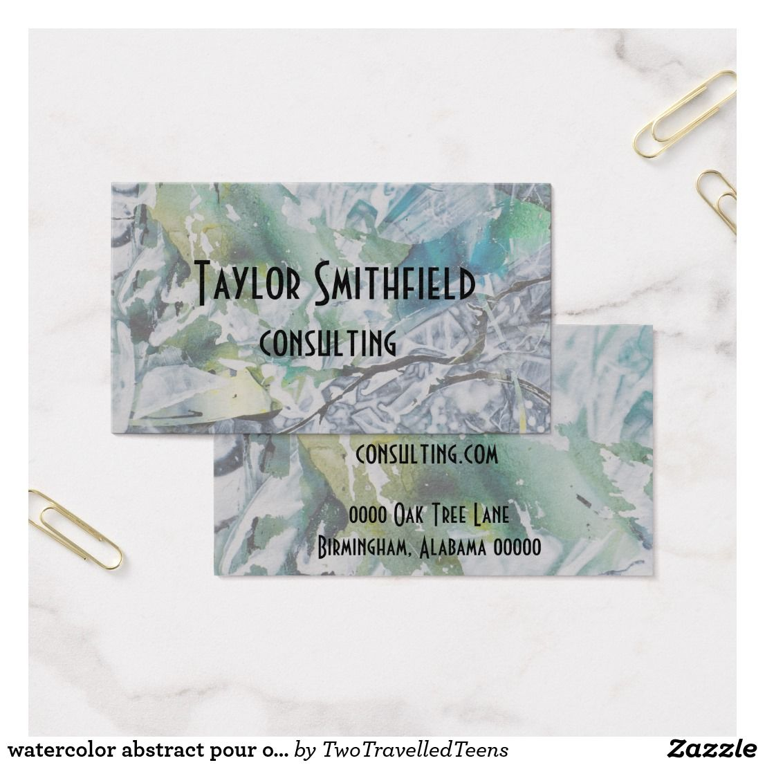 watercolor abstract pour over paint business card | Business Card ...