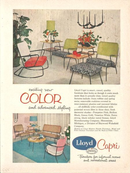 1950s Magazine Ad For Lloyd Capri Modern Furniture.