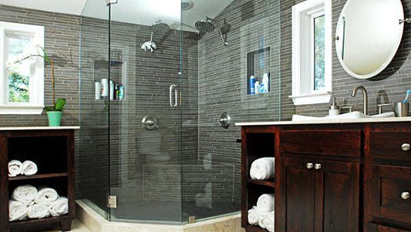 Comfortable Bathroom Decor Idea In Masculine And Feminine Styles: Gray Men  Bathroom With Covered Shower