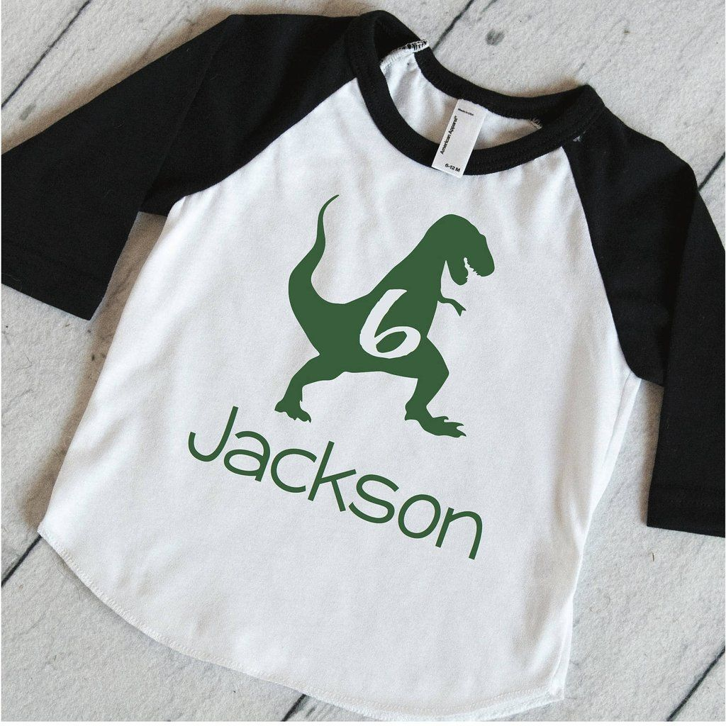 Dinosaur Birthday Party Shirt Boys Personalized T Rex 6th Dino Sixth 323