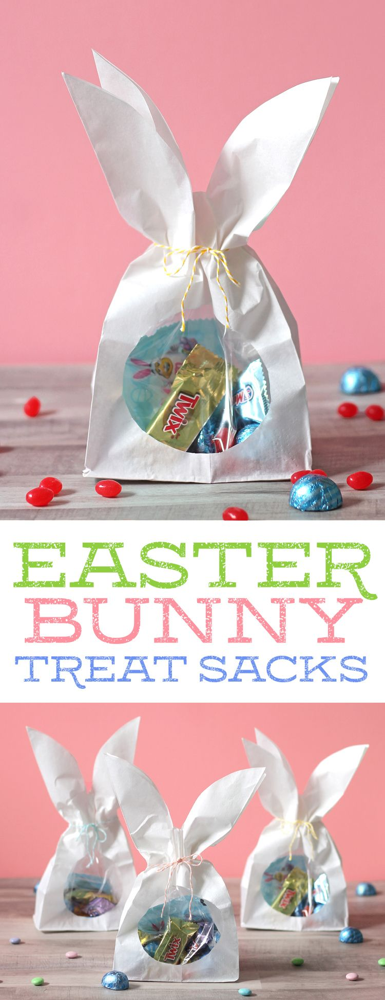 DIY Easter bunny treat sacks. Such a cute and easy Spring Easter craft idea. What a fun way to package up a sweet Easter gift! #SweeterEaster [ad] @walmart