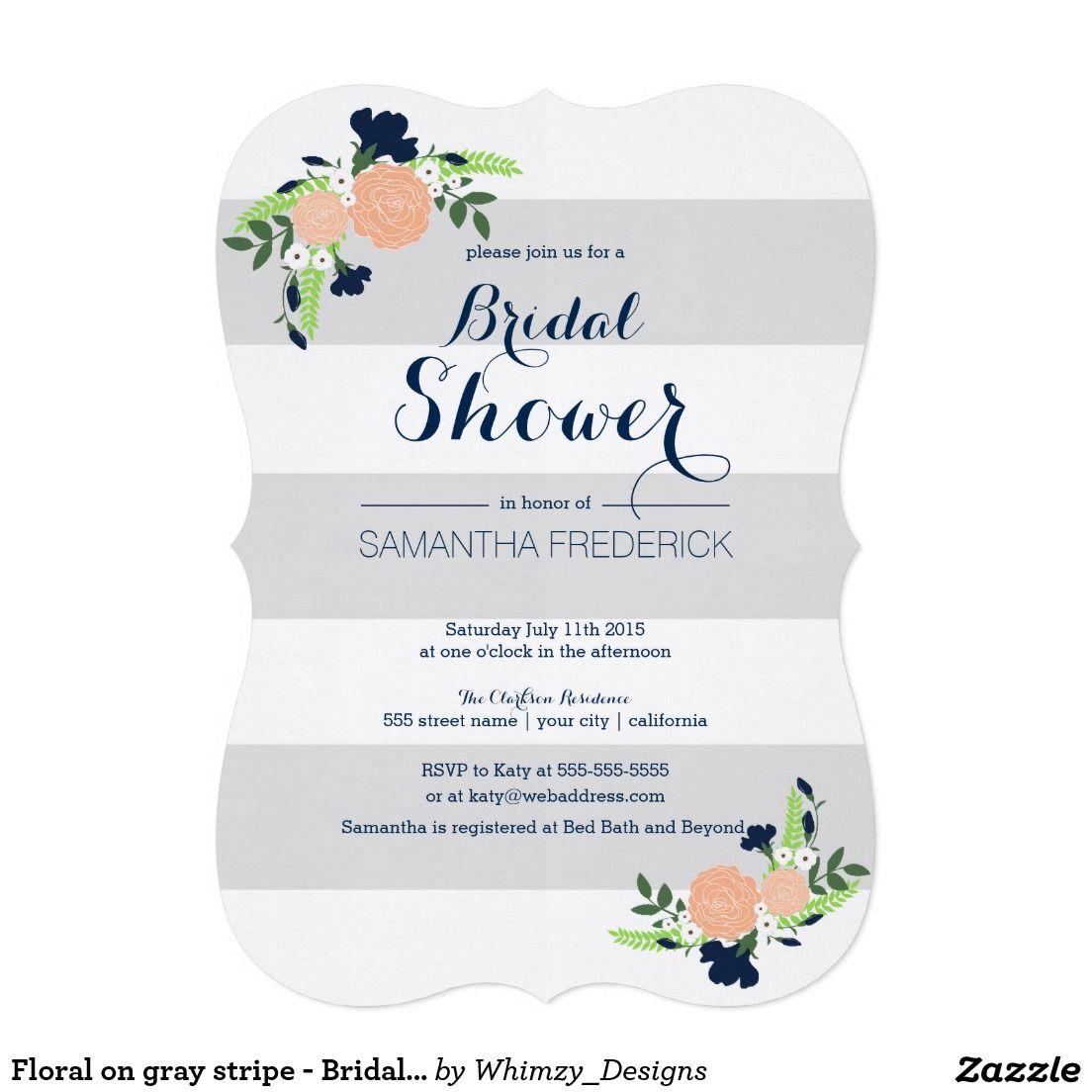 Floral on gray stripe - Bridal Shower Invitation | Grey stripes ...