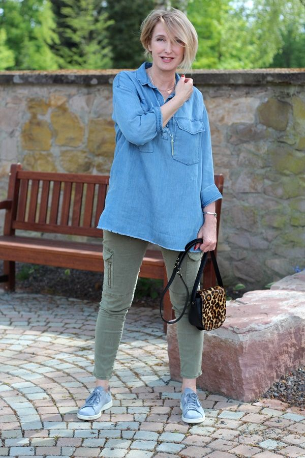 A fashion blog for women over 40 and mature women Denim-Blouse+Pants: