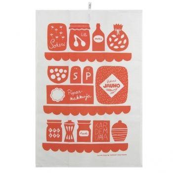 """""""keittiössä"""" towel by Leena Kisonen for Kauniste"""