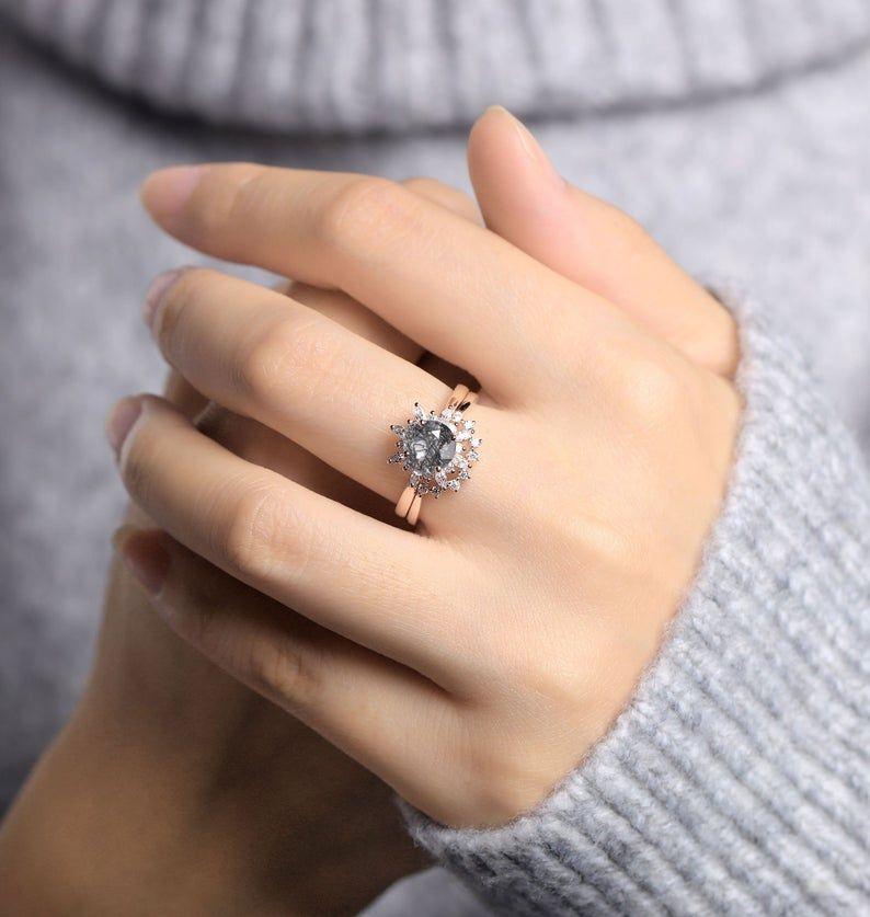 Black rutilated quartz engagement ring women rose gold