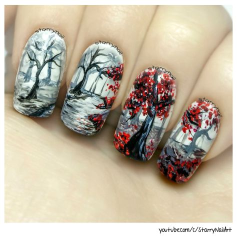 In The Forest Freehand Nail Art Tutorial Everything Nails