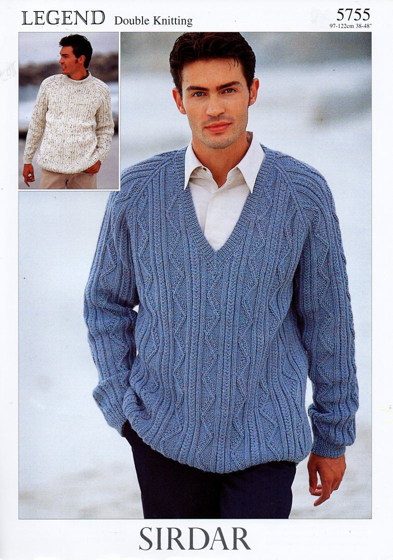 original mens DK cable sweaters knitting pattern Sirdar 5755 mens ...