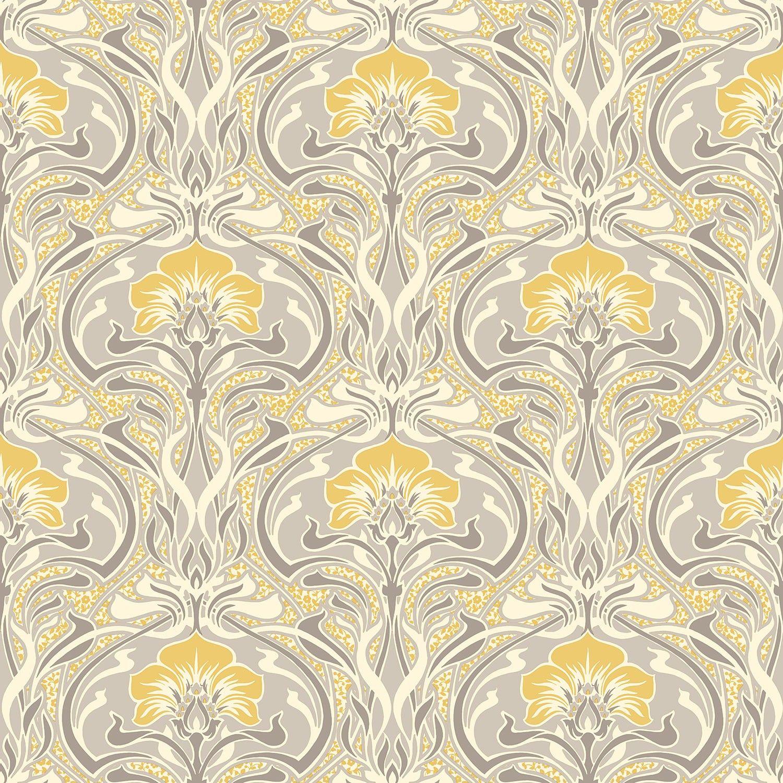 Crown Flora Nouveau Floral Wallpaper In Yellow Wallpaper