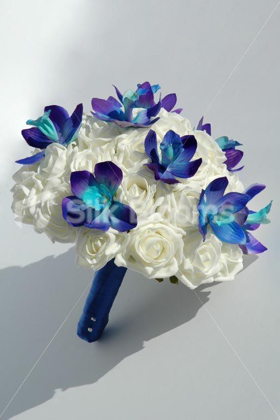 Stunning, Modern Galaxy Blue Orchid Hand Tied Bridal Bouquet ...