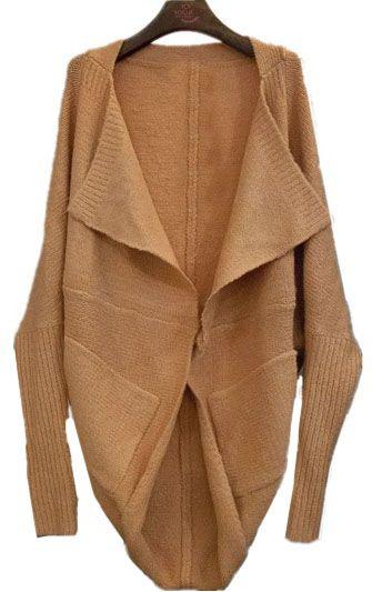 2dde0bf02 Pink Lapel Batwing Long Sleeve Loose Cardigan Sweater - Sheinside ...