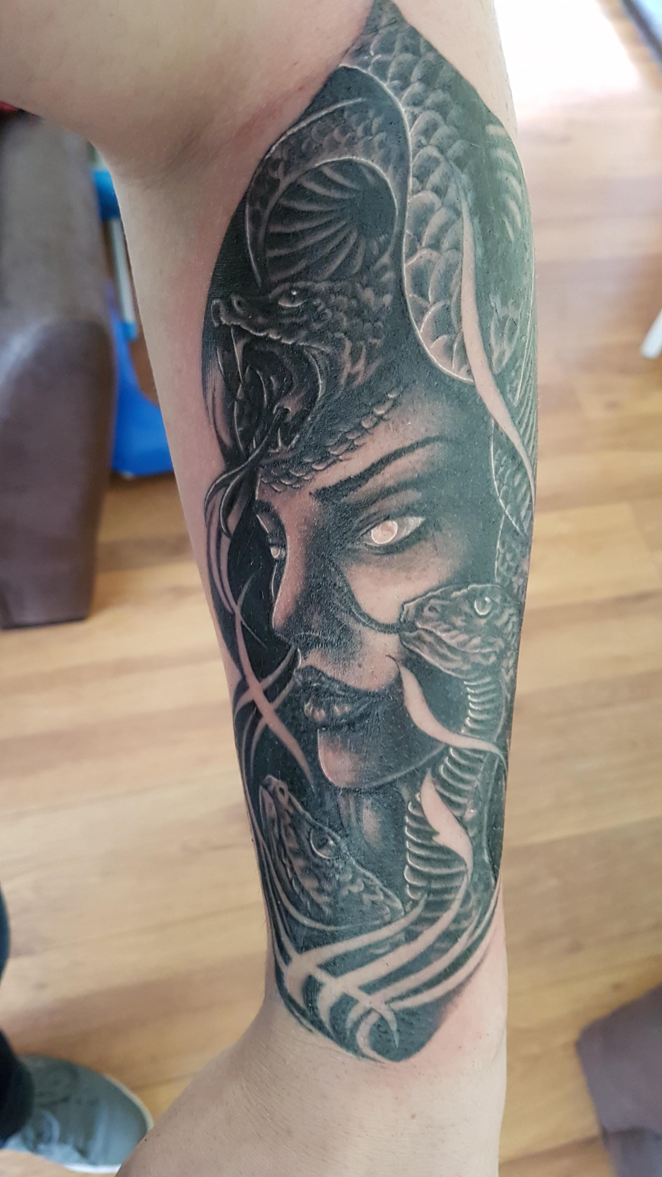 Medusa Second Session Of My Greek Mythology Sleeve By Grant Chameleons Tattoo London Japanese Tattoo Sleeve Greek Tattoos Tattoos Greek Mythology Tattoos