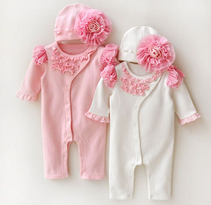 Mädchen-Baby-Kleinkind Newborn-Kappe + Spielanzug-Bodysuit Overall-Kleidungs-Sat