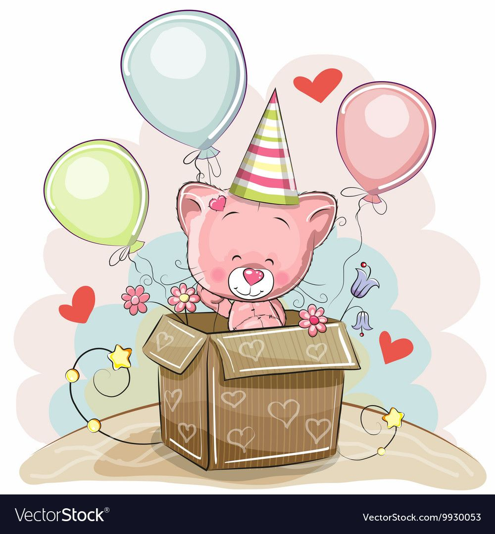 Birthday card with Cute Kitten Royalty Free Vector Image