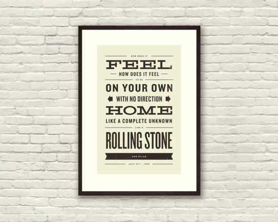 BOB DYLAN Like A Rolling Stone Lyric Poster  by CONCEPCIONSTUDIOS, $20.00