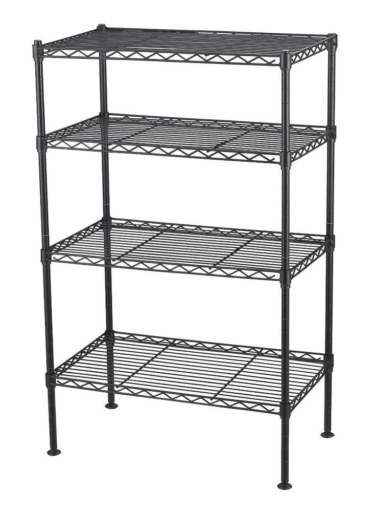4 Tier Wire Shelving Unit Metal Shelf Storage Rack Adjustable Shelves Black