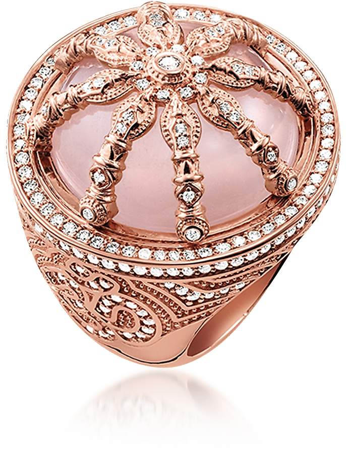 Thomas Sabo 18k Rose Gold Plated Sterling Silver Ring W White Zirconia And Rose Quartz Sterling Silver Rings Rose Gold Plates Thomas Sabo