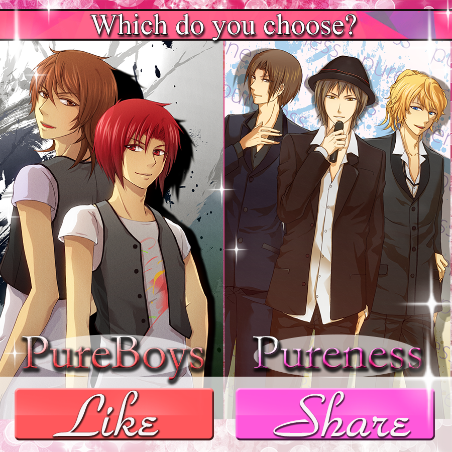 Which do you choose? Pureboys = Like!! Pureness = Share!! Please share your opinon!!  #koyonplete #otome #otomegame