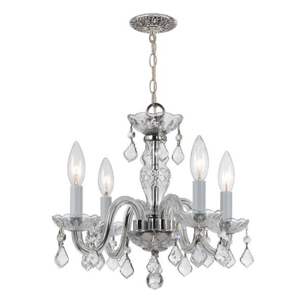 Traditional Crystal Collection Polished Chrome Chandelier With Clear Hand Cut