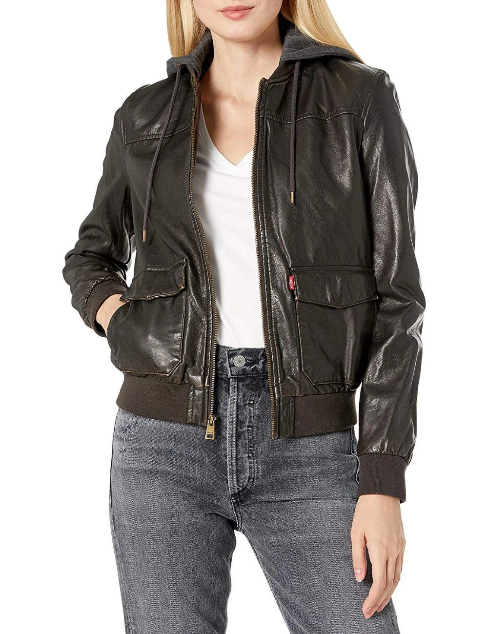 Levi S Two Pocket Faux Leather Hooded Bomber Jacket Hooded Bomber Jacket Bomber Jacket Women Leather Bomber Jacket [ 1299 x 1000 Pixel ]