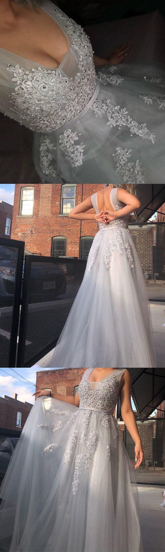 Aline vneck backless light blue tulle appliques prom dress with