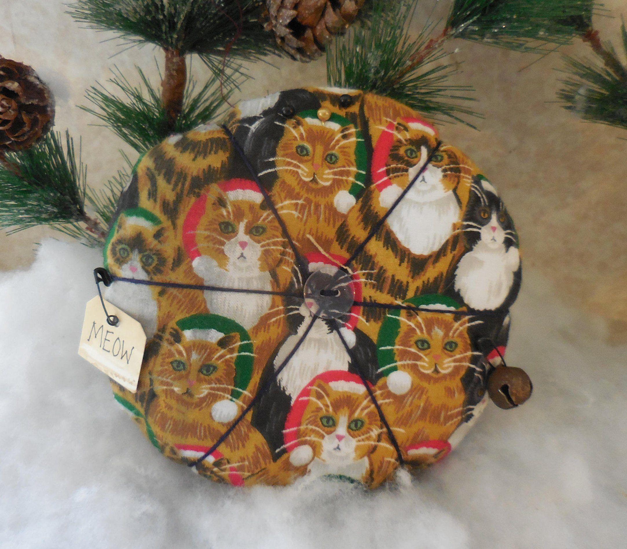 Primitive Christmas Cat Pin Cushion Santa Cat Pin Keep Ornament