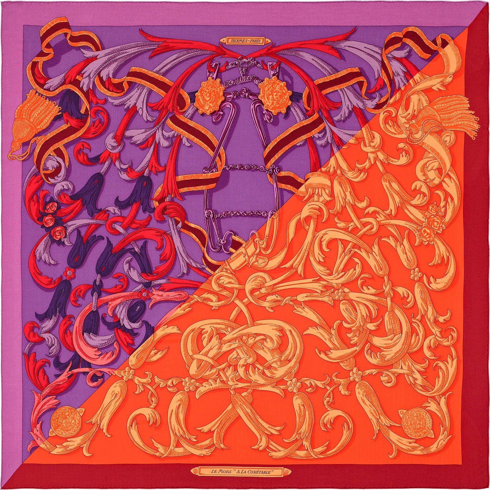 Le mors à la Connétable   Réf.   H243058S 06 violet rouge H orange   €920    Châle 70 % cachemire 30 % soie (140 x 140 cm) b597882b346