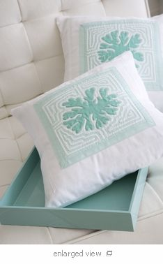 Fine Embroidered Canvas Tropical Pillows - Click to enlarge
