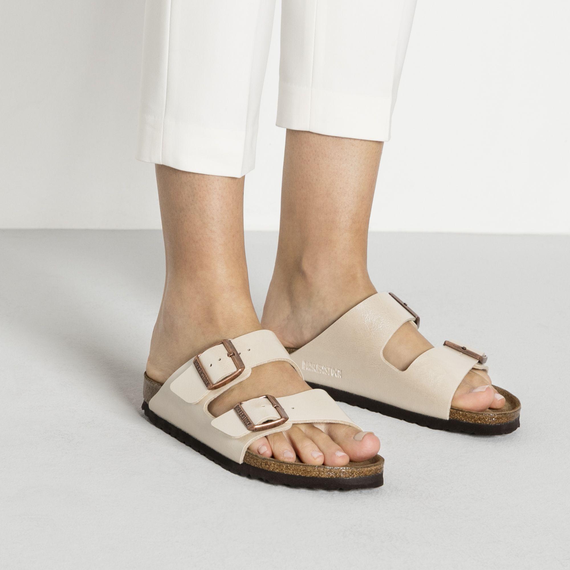 Arizona Birko Flor Graceful Pearl White Womens Birkenstocks Birkenstock Two Strap Sandals