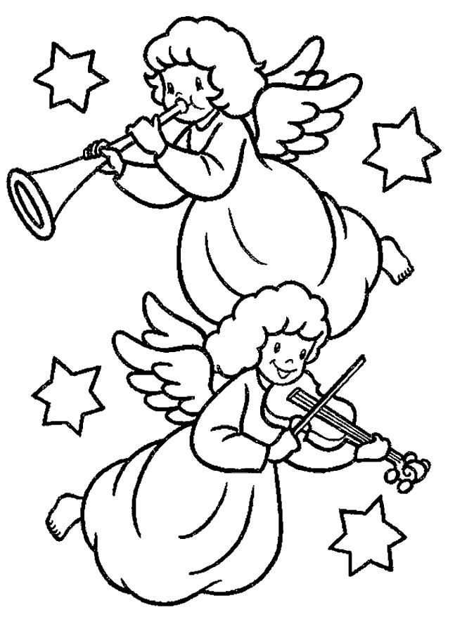 Christmas Angel Who Is Blowing The Trumpet Coloring Page Angel Coloring Pages Printable Christmas Coloring Pages Christmas Angels
