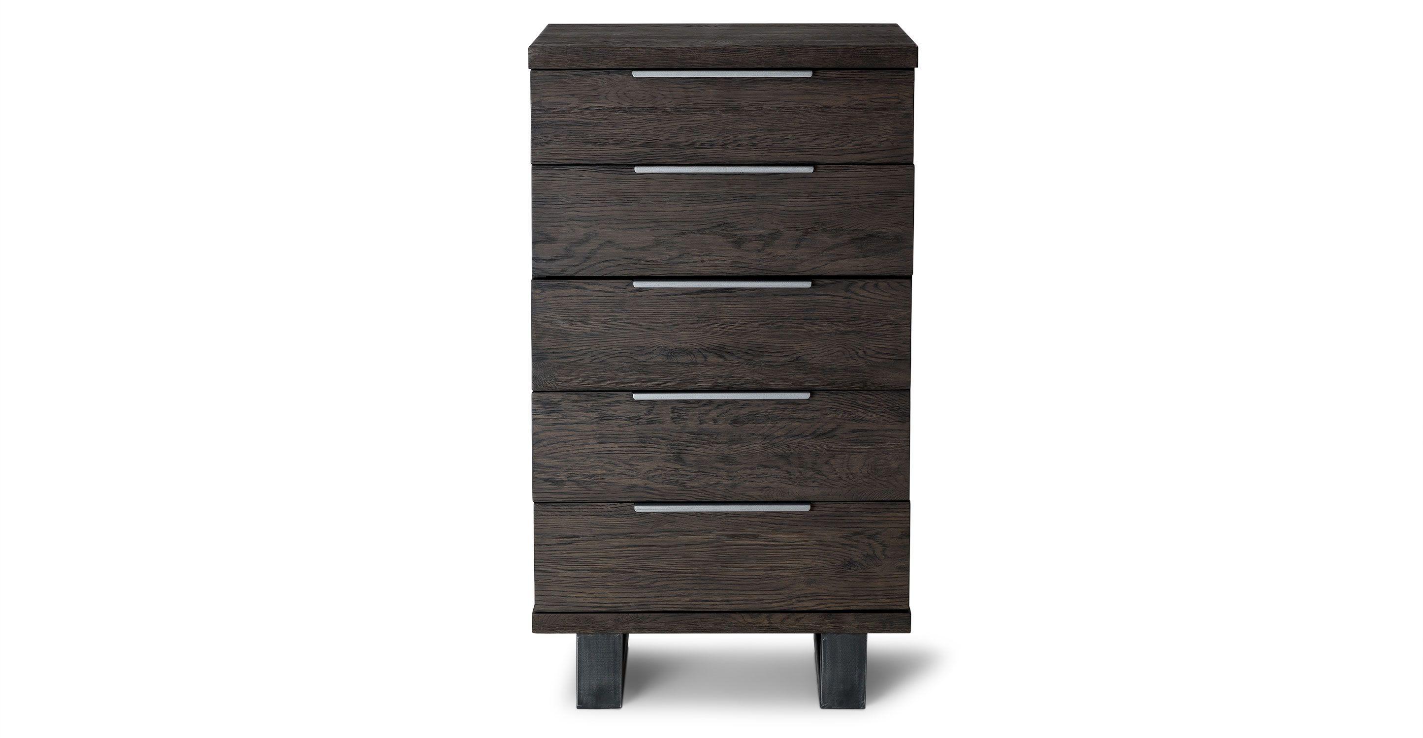 Dark Solid Oak 5 Drawer Dresser Article Taiga Bedroom Furniture