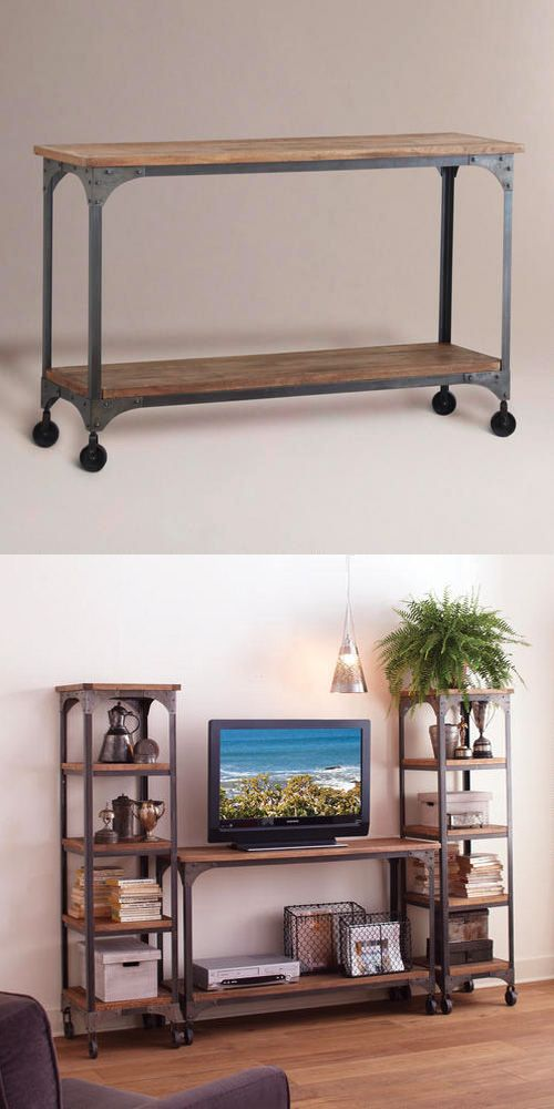 Wood and Metal Aiden Console Table Console tables Consoles and