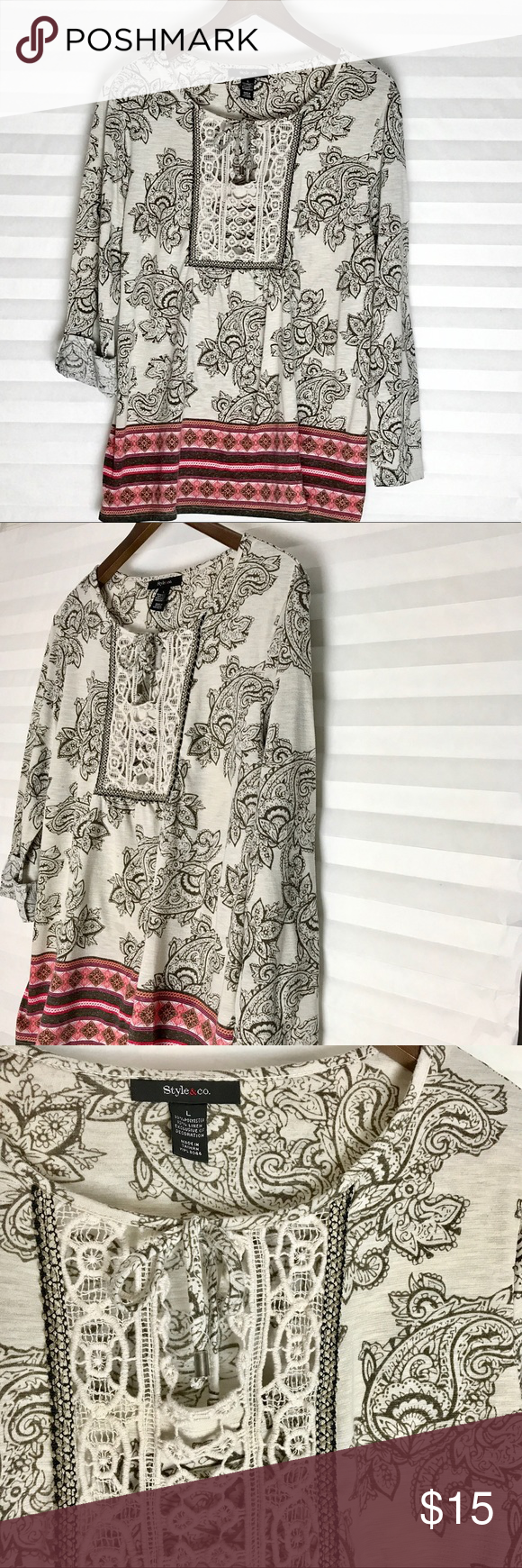 Flower Print Blouse 🌺 Style & Co. Beautiful Gently Pre-Loved Flower Print Blouse 🌺 Style & Co., Size L. Style & Co Tops Blouses