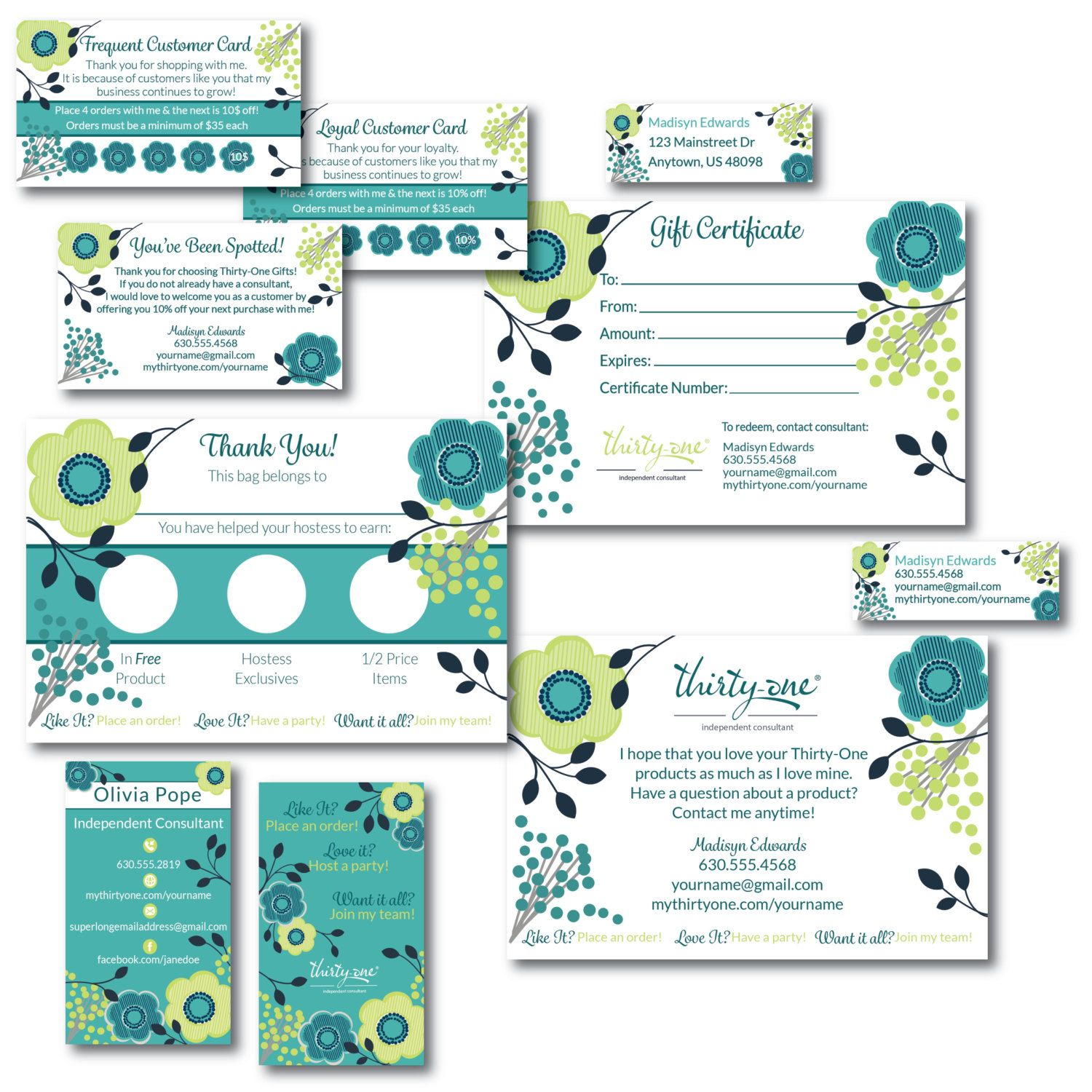 Thirty One Consultant Business Cards And Supply Bundle Consultant