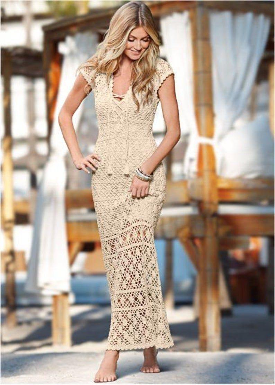 Long beige beach dress crochet / made to order