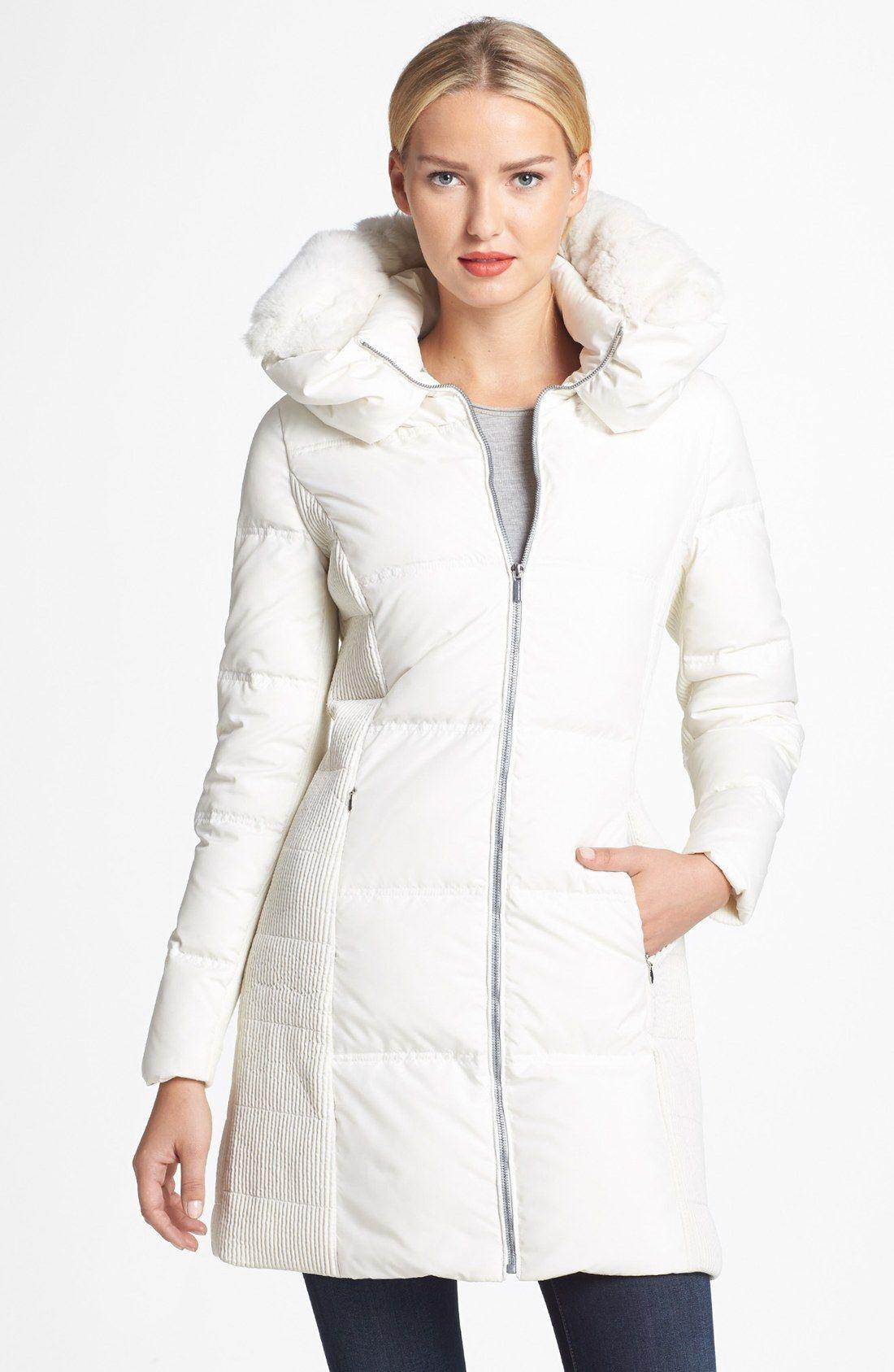 Bcbgmaxazria White Genuine Rabbit Fur Trim Hooded Down Coat Nordstrom Coats Down Coat Bcbgmaxazria Coats [ 1687 x 1100 Pixel ]