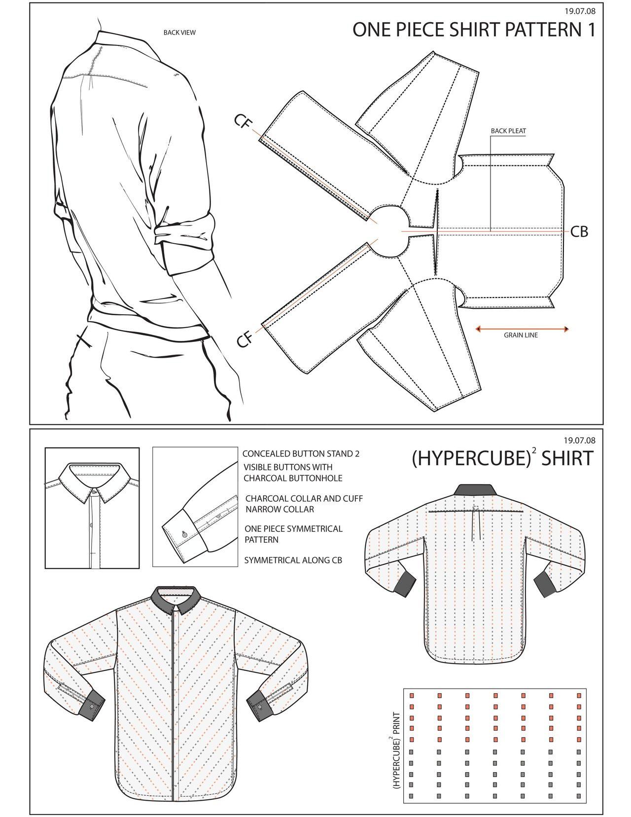 One Piece Shirt Experimental Pattern Cutting Pattern