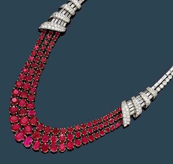 1945 Burma Rubies and Diamond Necklace