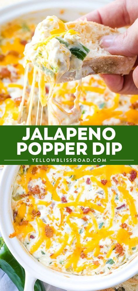 Jalapeno Popper Dip (Jalapeno Poppers) | YellowBlissRoad #dipsandappetizers