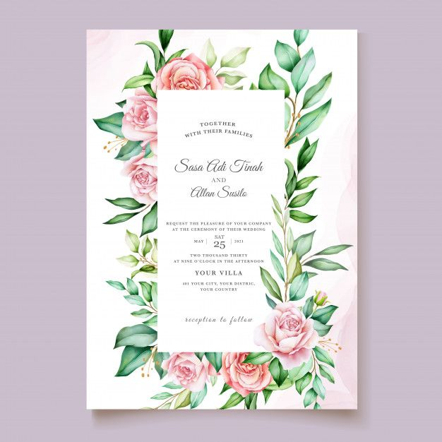 Watercolor Invitation Design With Floral Wreath Di 2020