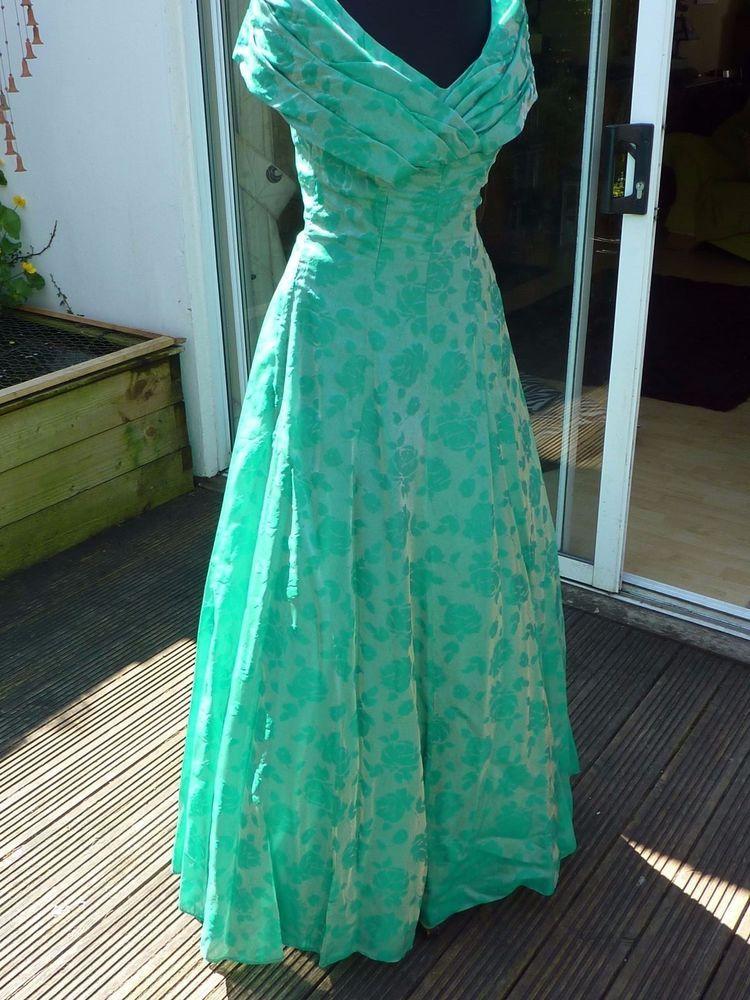 Vintage 1950s Emenson Shimmering Green Evening Prom Dress Size 10-12 ...