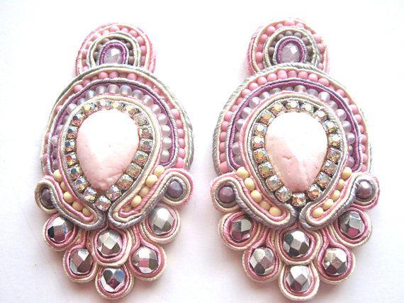 $£40 pink pastel soutache earrings #soutache #earrings #jewellery #jewelry #handmade #embroidery #pastel #pink