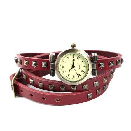 Reloj Pulsera Stud de Esencia Femenina, rojo