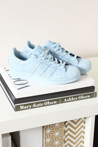 adidas superstar pastel blue