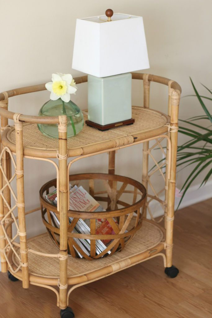 How To Style A Bar Cart Without Alcohol Wicker Bar Cart Bar