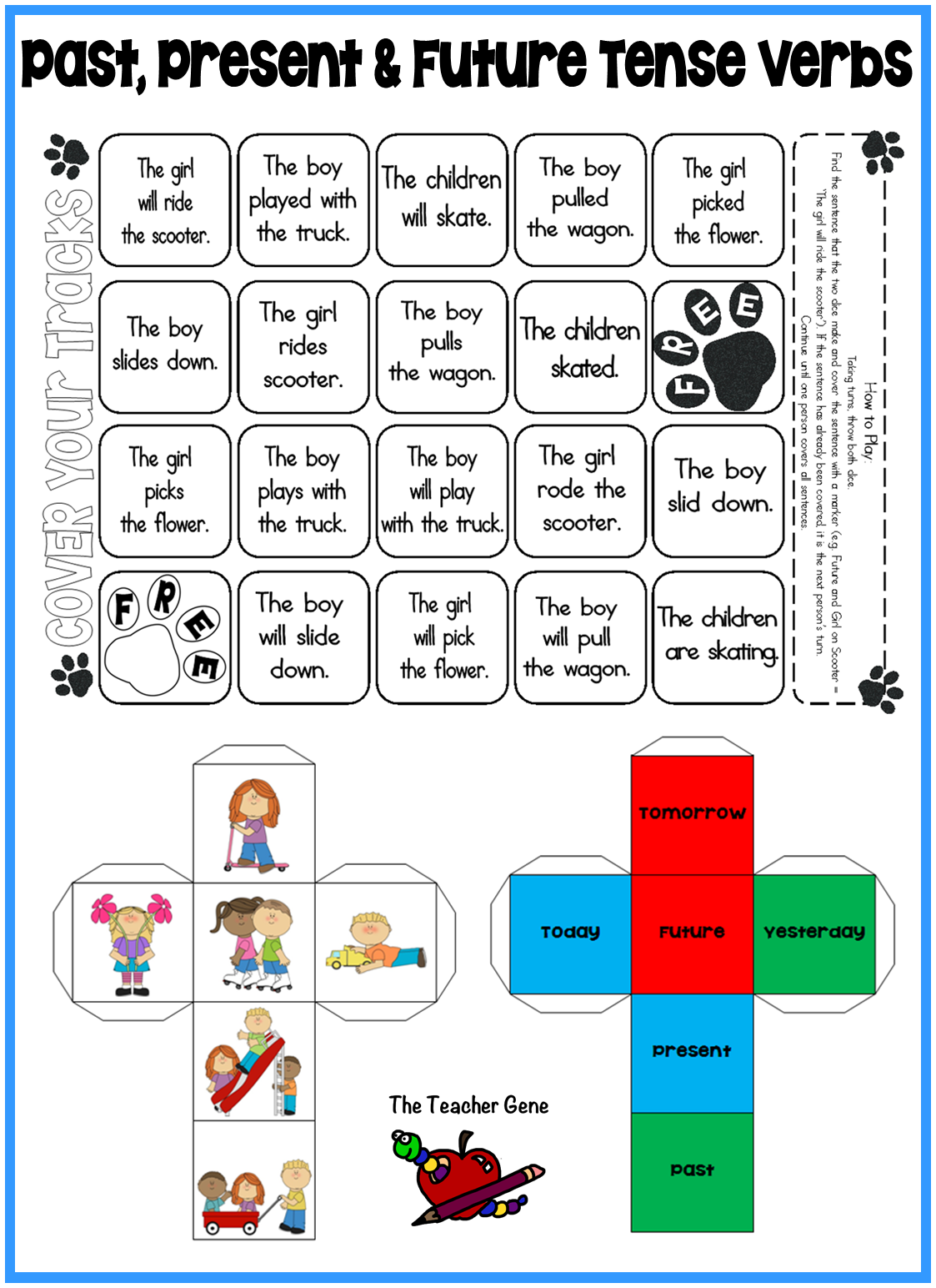 Past Present And Future Tense Verbs Regular Irregular Dice Games